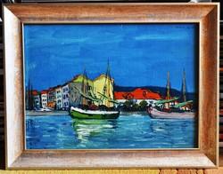 HAÁLA Gyula (1894-1948) festmény, Balatoni kikötő, 1936., olaj karton, 29 x 40 cm, jjf. Haála Gy 936