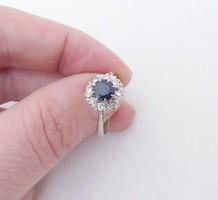 Gyémánt art deco  és zafír arany gyűrű az 1930-as évekből