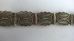 Ezüst filigrán karkötő-karpánt szép ötvösmunka 18,5 cm