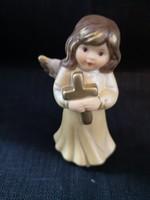 Goebel kézzel festett porcelán angyalka kereszttel hibátlan, saját dobozában