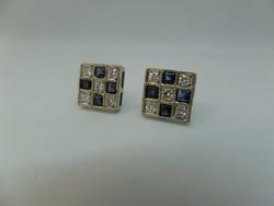 Zafíros - brilles modern fehér arany fülbevaló pár