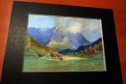 2 darab nagyon szép antik akvarell szignózott  osztrák festő
