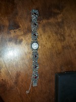 Antik Gránit kőves, barokk stílusú ezüst  női óra