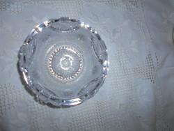 Ólomkristály  üveg tál -aprolékos csiszolással súlyos, masszív darab