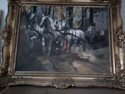 Kolozsvári Grandpierre Miklós alkotása A kép lovasfogatot ábrázol. Olaj festés vászonra.
