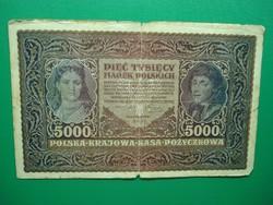 Lengyelország 5000 marek 1920 Ritkább!
