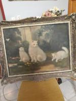 Antik  nagy  méretű   cicás   olaj  festmény    ,