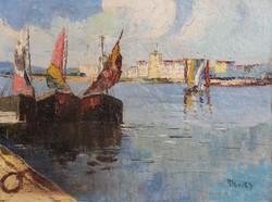 Európai festő (Monti?): Mediterrán kikötő