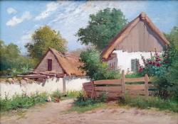 """Zorkóczy Gyula (1873 - 1932 ) """" Falusi udvar....!!"""