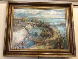 Udvary Pál(1900-1987) A Balaton Keszthelynél,nagyméretű olajfestmény