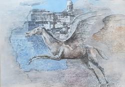 Fóth Ernő - Pegazus 33 x 50 cm olaj, papír