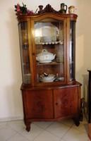 Antik  egy ajtós üveges vitrin/tálalószekrény