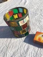 Díszes Színes üveg - by Maser - sok kis üveg tartó - váza - dísz