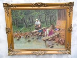Mosónők a patakparton című olaj-vászon festmény, Gyarmati jelzéssel. Hibátlan, kerettel.