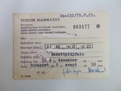 Vezetői igazolvány 1985