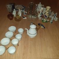 Porcelán - üveg tárgyak vegyesen egyben