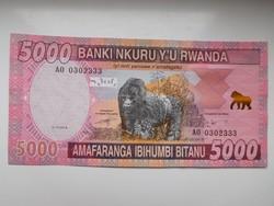 Ruanda 5000 francs 2014 UNC  A legnagyobb címlet!