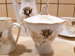 Rosenthal 6 személyes, komplett kávéskészlet, gyönyörű 'Shadow Rose' mintával. Vitrinállapotú!