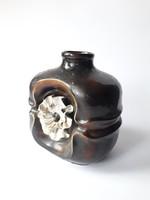 Jelzett retro iparművész kerámia váza - ritka virágos váza - képcsarnokos zsűrizett iparművészeti