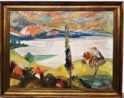 Szilvássy Pál (1920-1996) Balatonpart c. Képcsarnokos festménye 90x70cm EREDETI GARANCIÁVAL !!