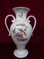 Hollóházi porcelán madaras váza, 41,5 cm magas.