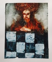 Győrfi András - 30 x 23 cm olaj, akril, papír