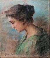 Egerváy Potemkin Ágost(1858-1930): Ifjú hölgy. Jelzett pasztell festmény.