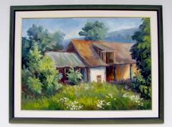 Czibula Pál Szadai ház KERETEZEVE 83x63cm olajfestmény