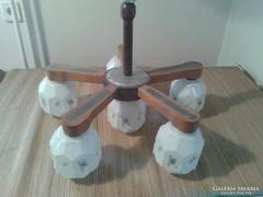 Régi 5+1ágú tejüveg búrás csillár