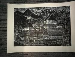 Bordás Ferenc fametszete: Julinak- Teri házai