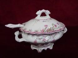 Antik minőségi német porcelán szószos tál, kanállal. mérete 21 x 14 x 15,5 cm.