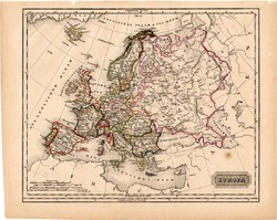 Európa térkép 1840 (2), német nyelvű, atlasz, eredeti, Pesth, 23 x 29 cm, magyar kiadás, régi