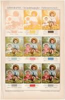 Litográfia, nyomtatás, litográfia 1894, színes nyomat, német nyelvű, Brockhaus, színek, rétegek