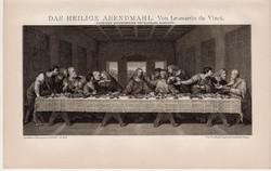 Az utolsó vacsora, litográfia 1893, színes nyomat, német nyelvű, Brockhaus, Leonardo da Vinci, régi