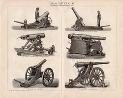 Fegyverek II. és I., III., egyszínű nyomat 1893, német, eredeti, ágyú, gépfegyver, gyorstüzelő, régi
