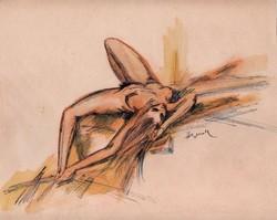 Herman Lipót - Fekvő akt 26 x 21 cm tus, papír