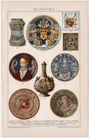 Majolika, litográfia 1893, színes nyomat, német nyelvű, Brockhaus, tál, kerámia, váza, csempe, régi
