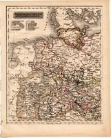 Észak-nyugati Német nemzetállamok térkép 1840 (2), német nyelvű, atlasz, eredeti, Pesth, 23 x 29 cm