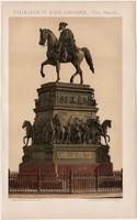 Nagy Frigyes szobor, litográfia 1893, színes nyomat, német nyelvű, Brockhaus, régi