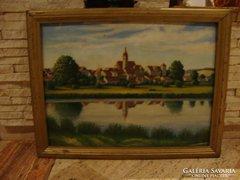 Kisvárosi látkép tóban tükrözve olaj-farost festmény