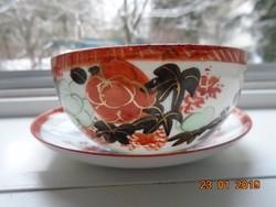 Kutani japán aranykontúrozott pünkösdi rózsás,madaras teás csésze alátéttel,arany vaspiros jelzés