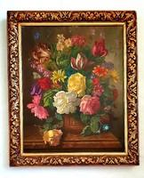Gussich Jenő - Virág csendélet olajfestmény