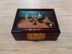 Dekoratív Keleti lakkfa ékszeres doboz