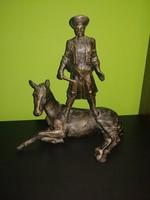 Antal Károly (1909-1994): Lovon álló csikós képcsarnokos szobor