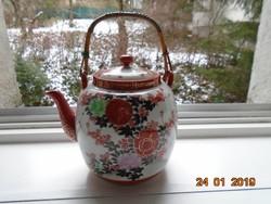 Kutani japán aranykontúrozott pünkösdi rózsás,madaras teás kanna,arany vaspiros jelzés
