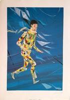 Kass János - Artista 58 x 38 cm színes nyomat, szignált, sérült