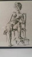 Széken ülő női akt, grafika 55 x 45 cm