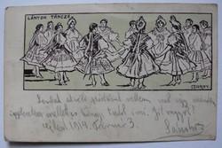 """Szecessziós képeslap 1914-ből: """"Lányok tánca"""" (Garay); Kner Izidor (Gyoma) kiadása"""