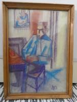 BA jelzéssel; Ülő férfi - 42 cm x 28 cm, pasztell-papíron, üvegezett keretben