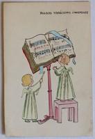 Karácsonyi üdvözlőlap, 1940 körül (pb.: 1960): Éneklő angyalok